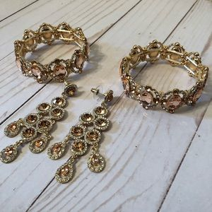 Jewelry - GOLD & ROSE GOLD BRACELET & EARRING MATCHING SET